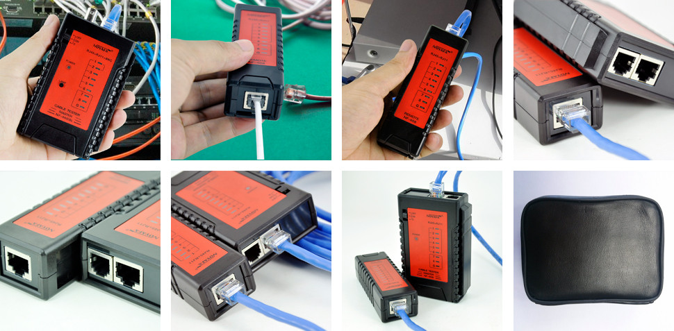 LED Flashlight display cable tester for RJ45 network RJ11 telephone line