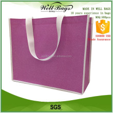 2016 new design original custom non woven pink glitter film shining reusable shopping tote Bag
