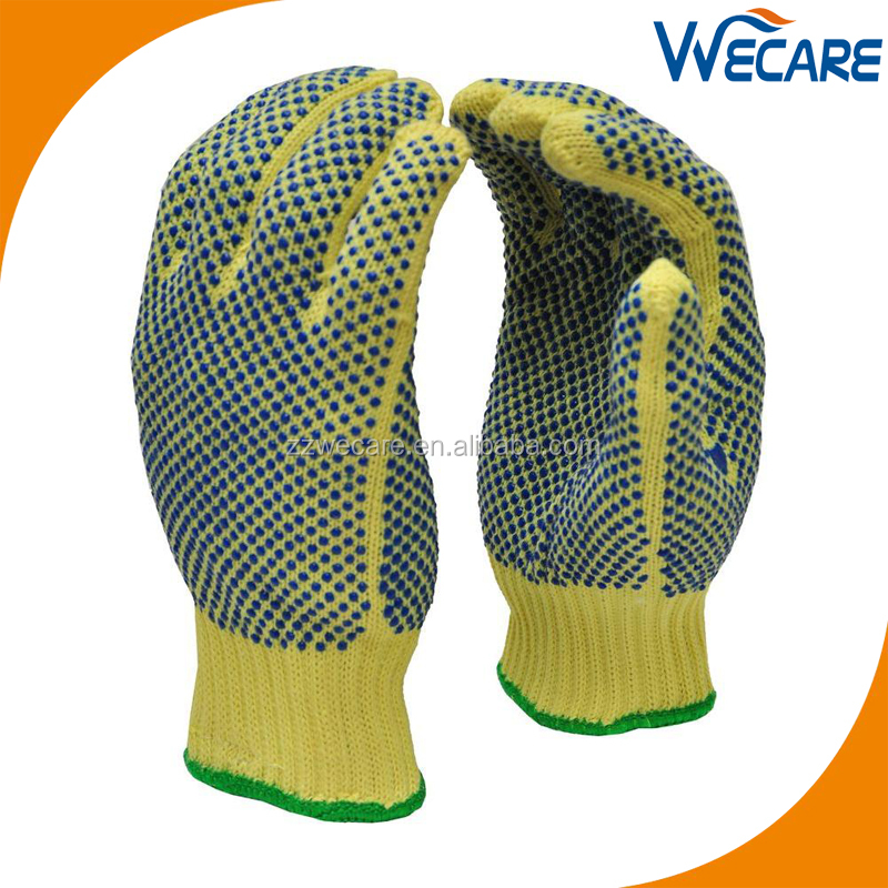 Double PVC Dots Anti Slip Glass Handling Aramid Cut Resistant Gloves