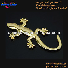 gold color gecko design car badge emblem car decoration accessories