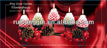 New design Christmas decoration Pine Cone metal Candle Centerpiece wrought iron candle holder