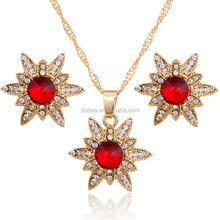 Hot Women Rhinestone Crystal Wedding Necklace Earring Plated Jewelry Sets