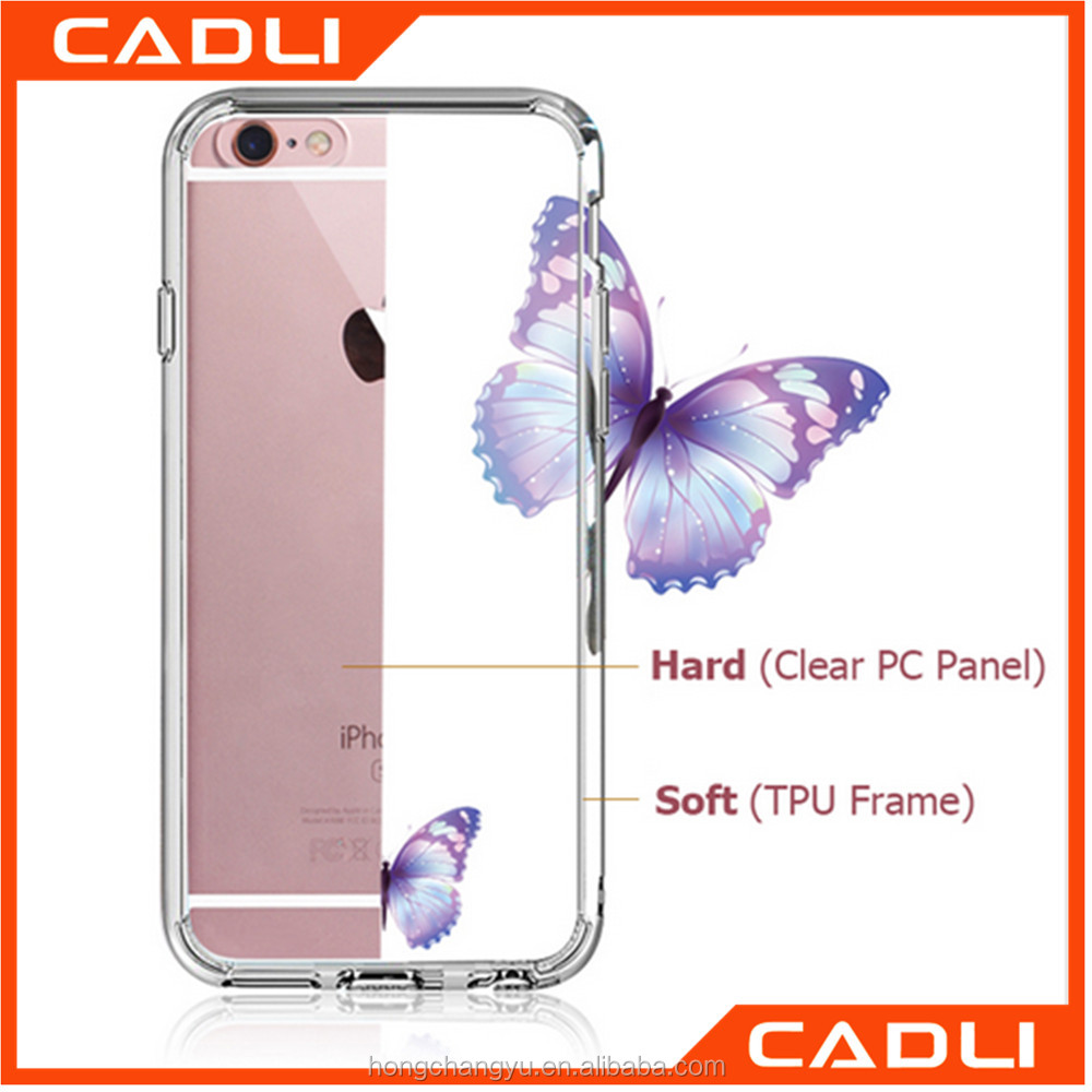 Crystal Transparent Back Cover With Dust Plug Clear TPU Frame Phone Case For iPhone 6 6s 7 & 7 Plus