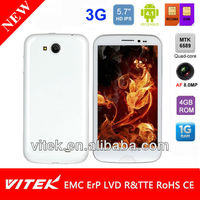3G Android Smart phone with 5.7 inch Quad Core Dual Sim 8.0MP AF camera