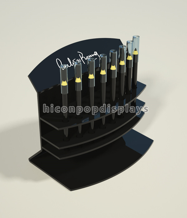 Black Acrylic Beauty Products Retail Store Counter Top Eyebrow Pencil Mascara Eyelash Display Stand