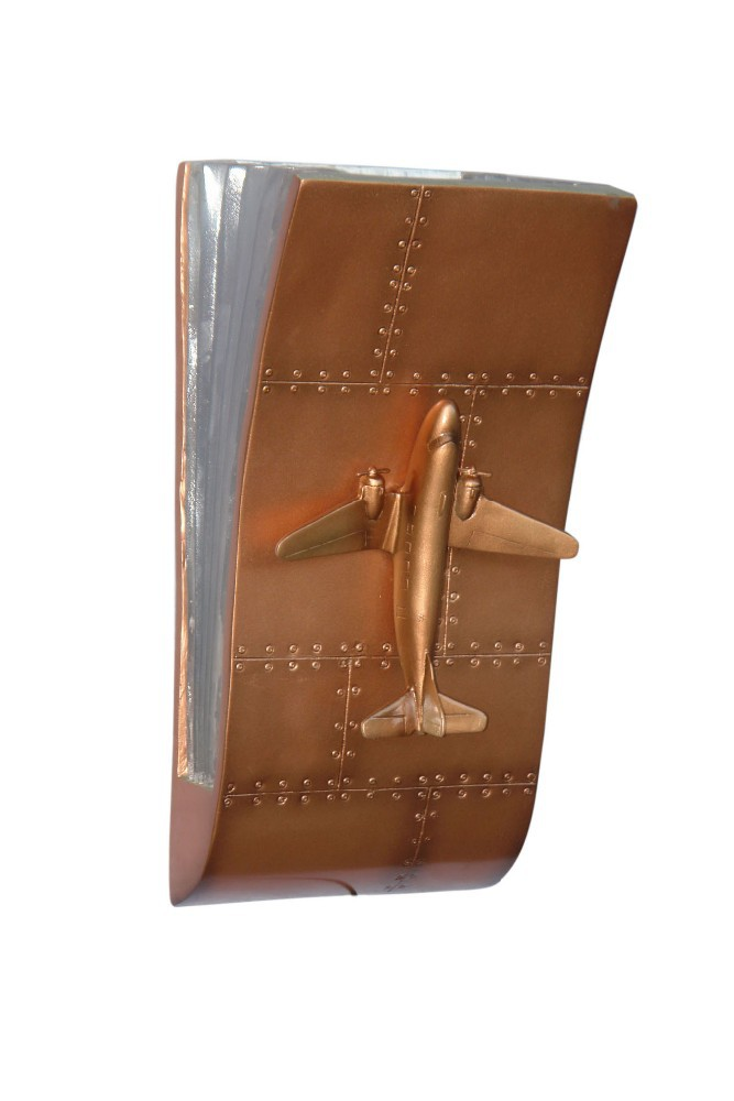 FIBERGLASS PLATE WITH AIRPLANE WALL LAMP (BRONZE)
