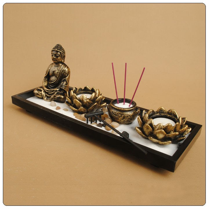 Asian japanese feng shui sand zen garden zen meditation for Bureau zen feng shui