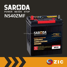 SARODA Maintenance free auto battery with calcium expanded lead grid 12V 36Ah NS40ZMF acid car battery
