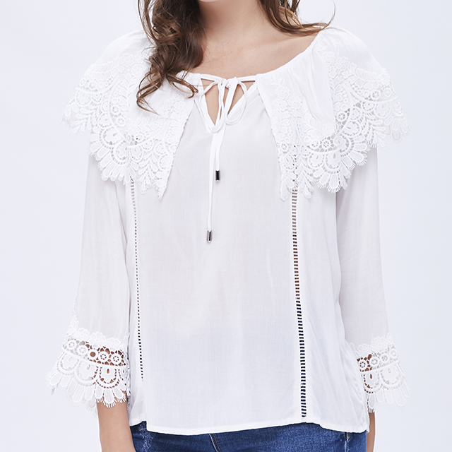 white cap sleeve custom embroidered poplin lace patches lady blouse woman