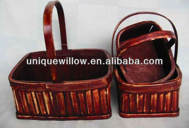 Wooden Basket with Wooden Handles FG-123