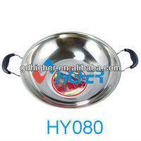 Hot Sale High Quality Stainless Steel Double Laryer Frying Pan/Pot with Ears