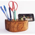 pen holder, office organizer, wood phone stand