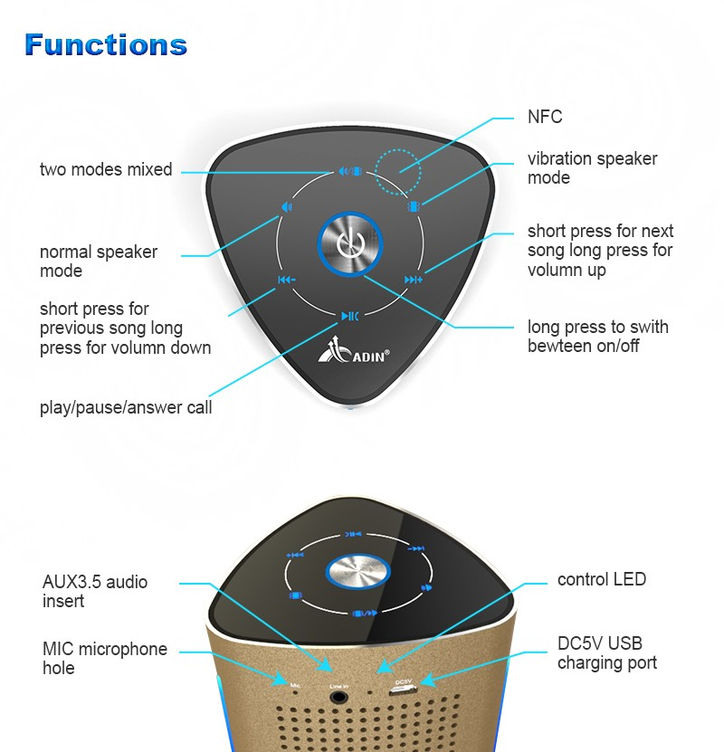 outdoor portable mp3 nfc bluetooth vibration speakers with led light