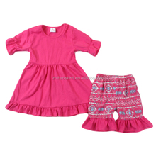 Baby outfits for kids printing shorts rose red cheap china wholesale kids clothing