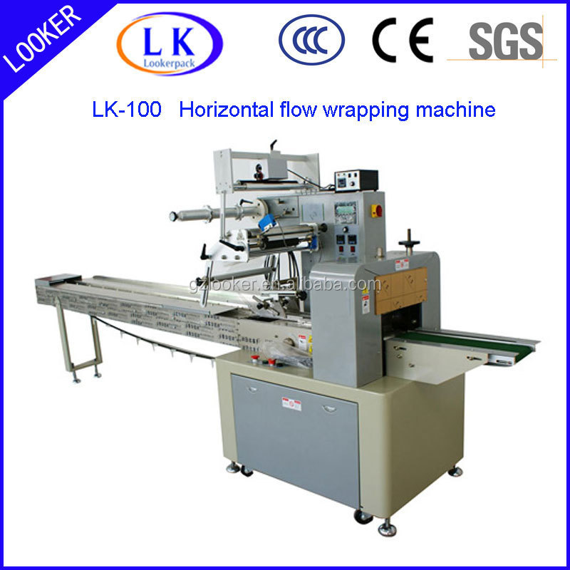 Horizontal flow wrapping machine for candy cake packaging