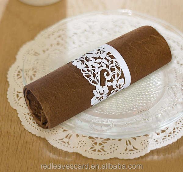 fashion felt flower laser cut napkin ring <strong>decorations</strong> for wedding table
