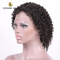 Factory wholesale remy brazilian natural curly human hair short lace wigs