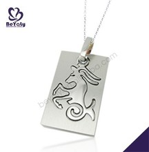 Rectangle horse engraved shiny titanium chain necklace