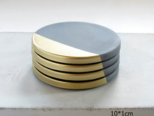 4 set gold concrete coasters with cork bottom