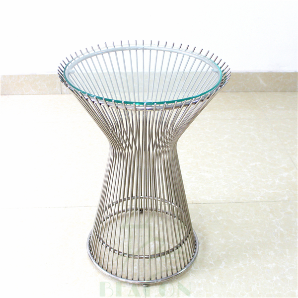 contemporary glass top stainless steel base coffee table