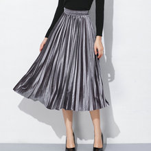 2019 sale pleated gold velvet large size <strong>skirt</strong> high waist half-length women's large swing <strong>skirt</strong>