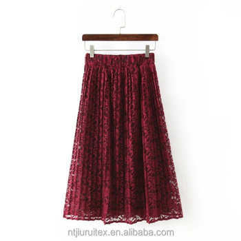 women stretch waistband A-line pleated lace midi skirt