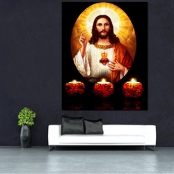Light Up Jesus Christ Canvas Painting Custom HD Print Craft Fabric Picture Wall Art Painting With LED Light