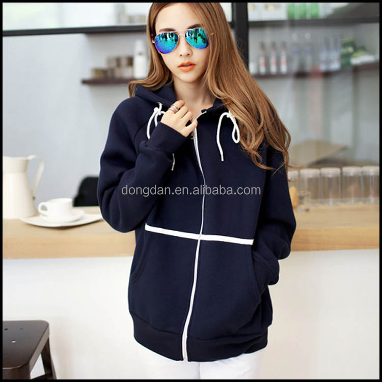 Customized Plus Size Women Grey Street Fashion Cashmere Hoodie With Zipper