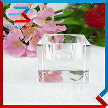 Optical k9 crystal glass cubic block tea light candle holder