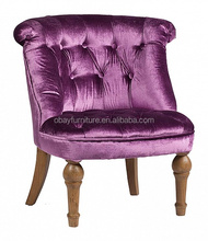 French style upholstered velvet fabric button tufting tub chair