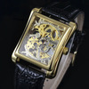 Gold Rectangle Skeleton Clock Stainless Steel Case Men Automatic Self Wind Leather Band Casual Mechanical Watches
