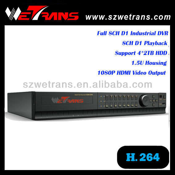 WETRANS TD-8108M 1.5U Full D1 Indutrial Standalone H.264 DVR with HDMI port, 8CH CCTV DVR with Embedded Linux