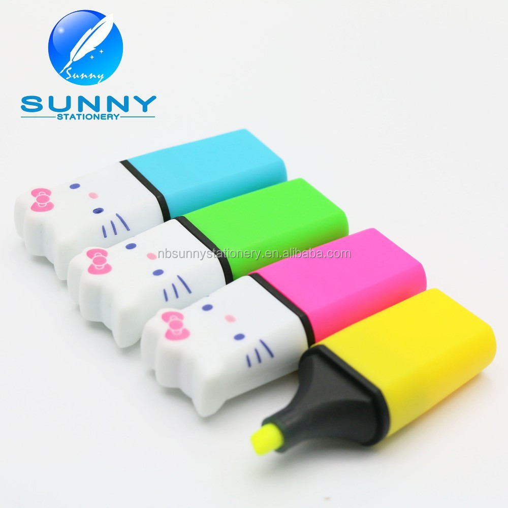 2015 high quality multi colored hello kitty shaped highlighter marker pen,pocket mini highlighter