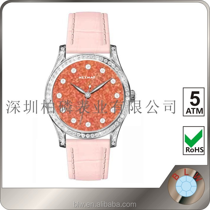 genuine leather lady gift watch, diamond watch, gemstones watch