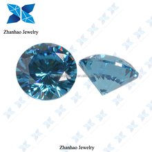 faceted round shape aquamarine color synthetic zirconia stone