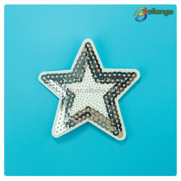 Wholesale silver sequin star embroidery patches Heat transfer embroidery patches