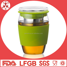 Wholesale price handmade borosilicate coffee wine cup glass tea cup with silicone sleeve