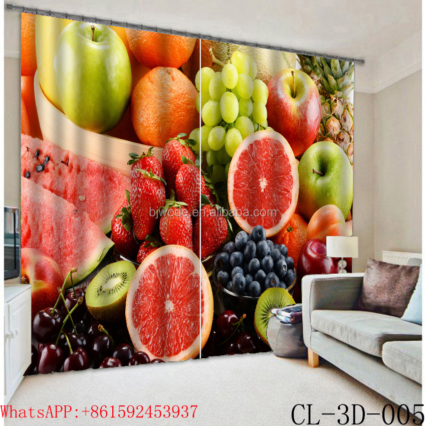 Fresh all kinds of fruits polyester curtain and valance.