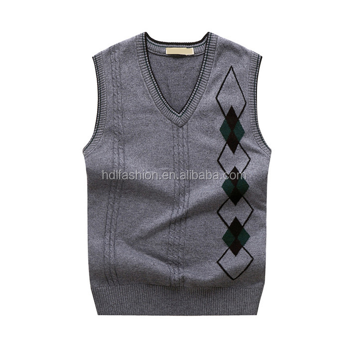 Men's knitted pattern best father gift high quality sleeveless vest