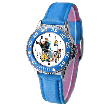 Newest PU Band Minions Quartz Watch for Children