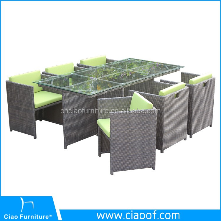 Hot Sale Rattan 6 Seater Dining Set Loom Craft Garden Furniture