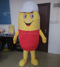 Giant plush material pill bottle mascot costume custom made acceptable adult medicine bottle mascot costume for sale