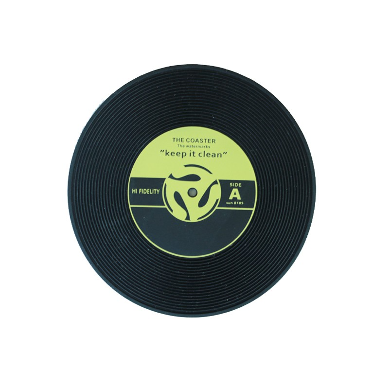 2017 Amazon Customized Vinyl Records Silicone Drink Coaster