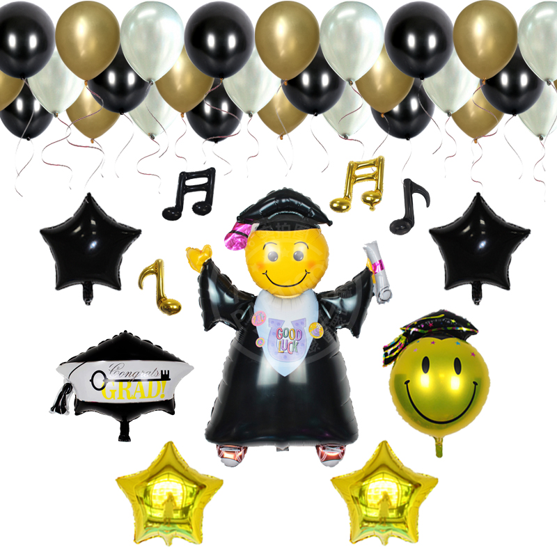38pcs/lot Graduation doctorial hat foil balloons graduate smile face latex balloon for ceremony party supplies baloes
