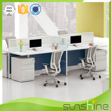Commercial furniture office workstation for 4 persons desk partition with support pedestal