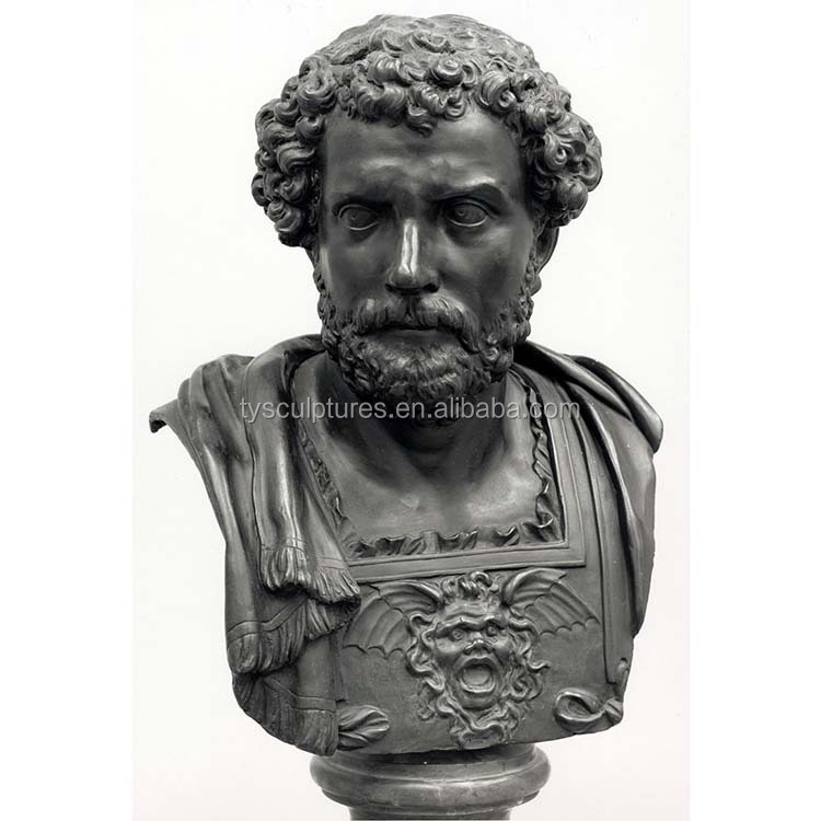 life size classical antique Rome style bronze man figure bust sculpture for home gift crafts decoration