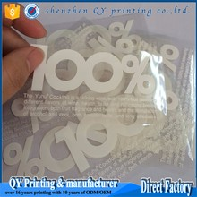 Custom wholesale transparent logo vinyl label, PET/PP/PVC/BOPP clear plastic label sticker for packaging label