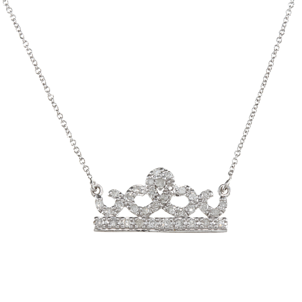 Elegant 925 silver clear diamond of cz crown pendant necklace jewelry for women