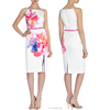 Summer wear garments print fashion design satin cocktail dresses for juniors