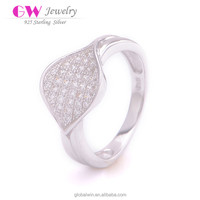 Fine S925 Sterling Silver Jewelry Leaf Ring